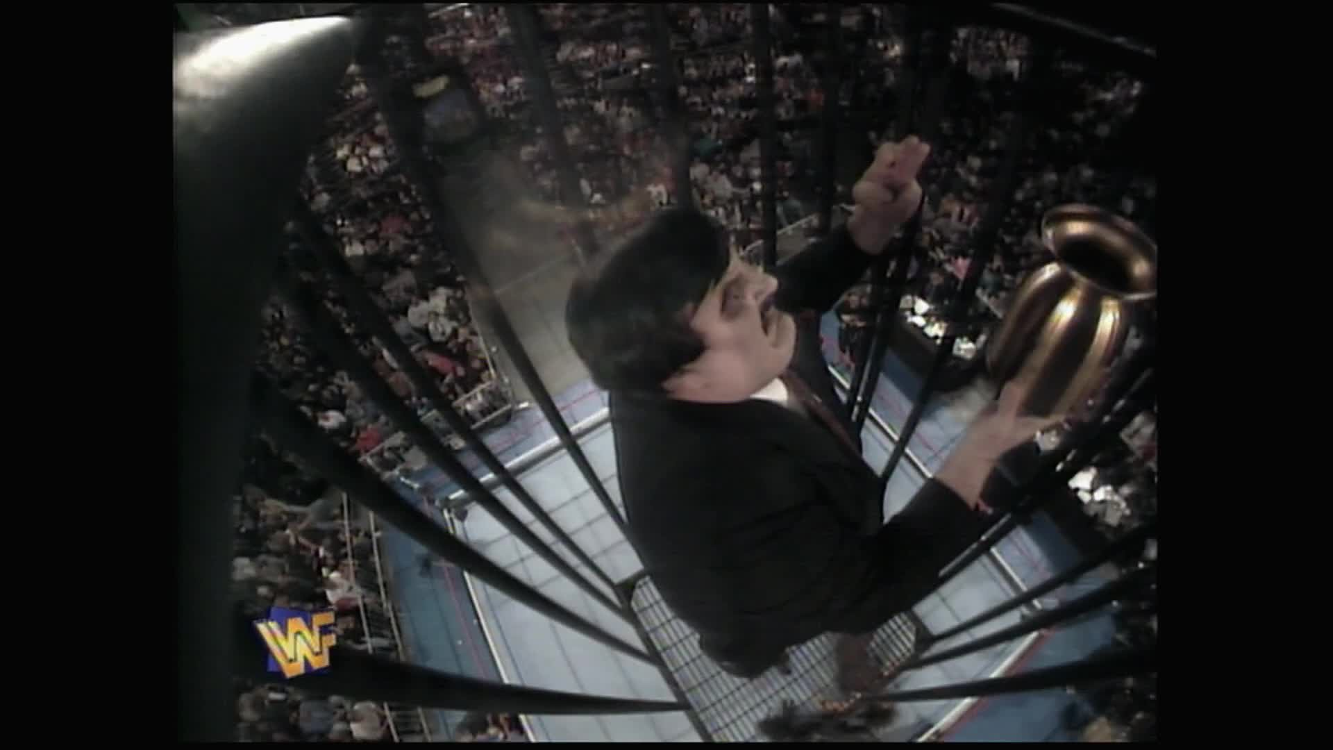 Paul Bearer has a bird's eye view of Undertaker vs. Mankind: Survivor Series 1996