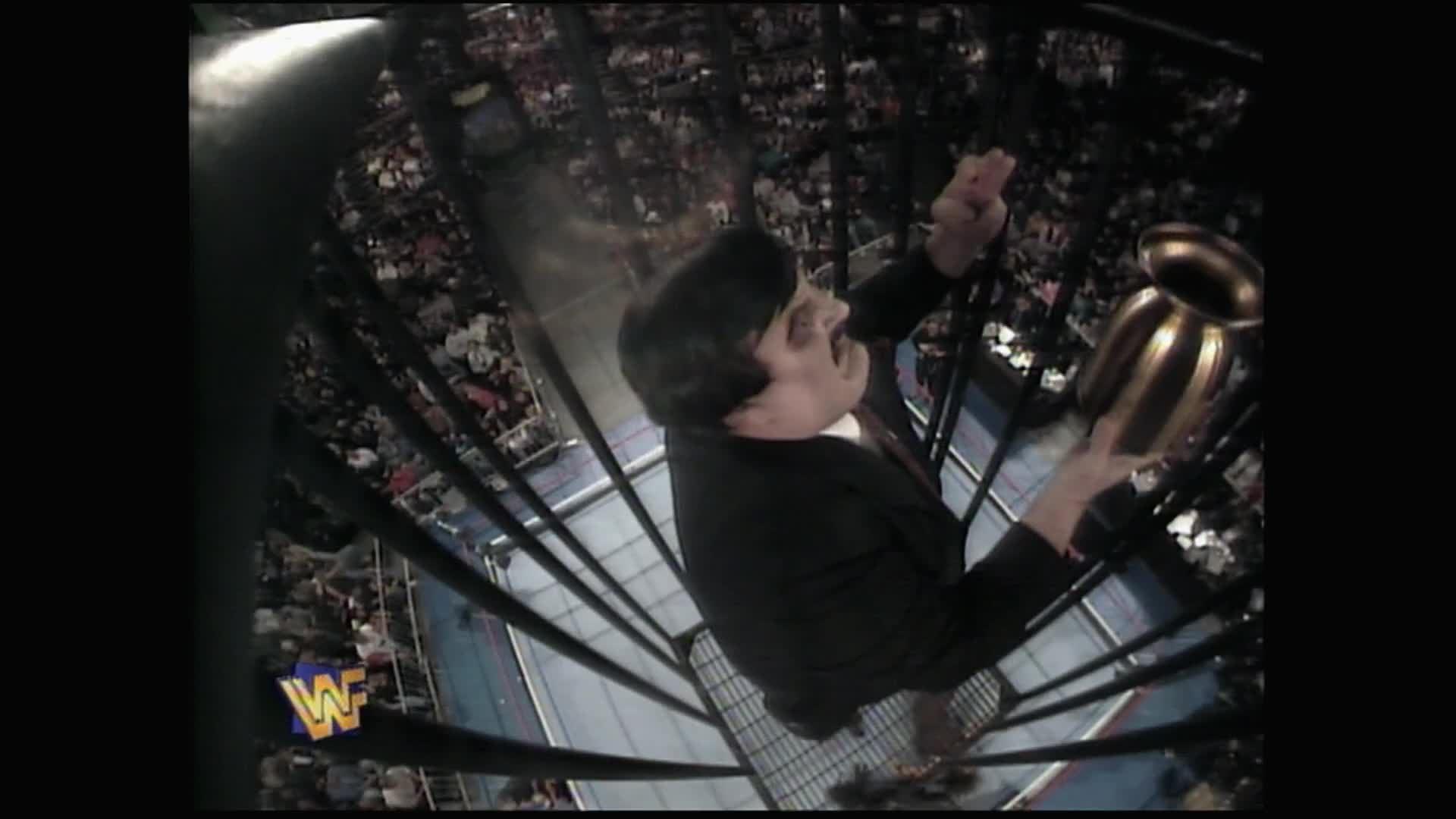 Paul Bearer has a bird's eye view of Undertaker vs. Mankind: Survivor Series 1996