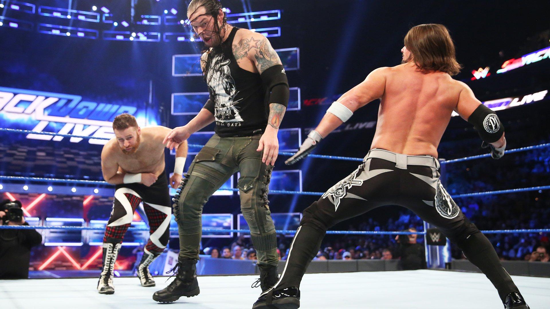 Sami Zayn vs. AJ Styles vs. Baron Corbin - Match Triple Menace pour établir l'Aspirant nº1 au titre de Champion des États-Unis: SmackDown LIVE, 11 avril 2017