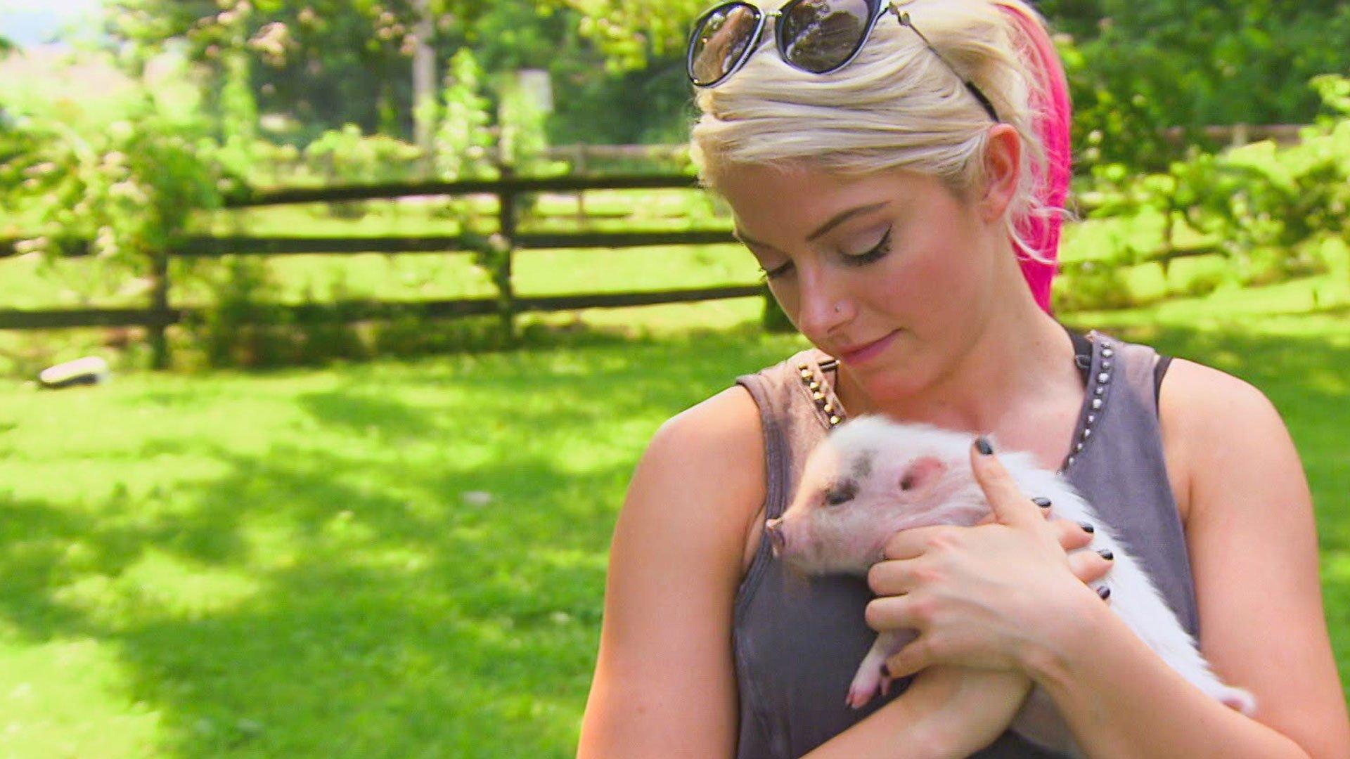 Alexa Bliss et Nia visitent une ferme de cochons: Total Divas, 6 Décembre 2017.