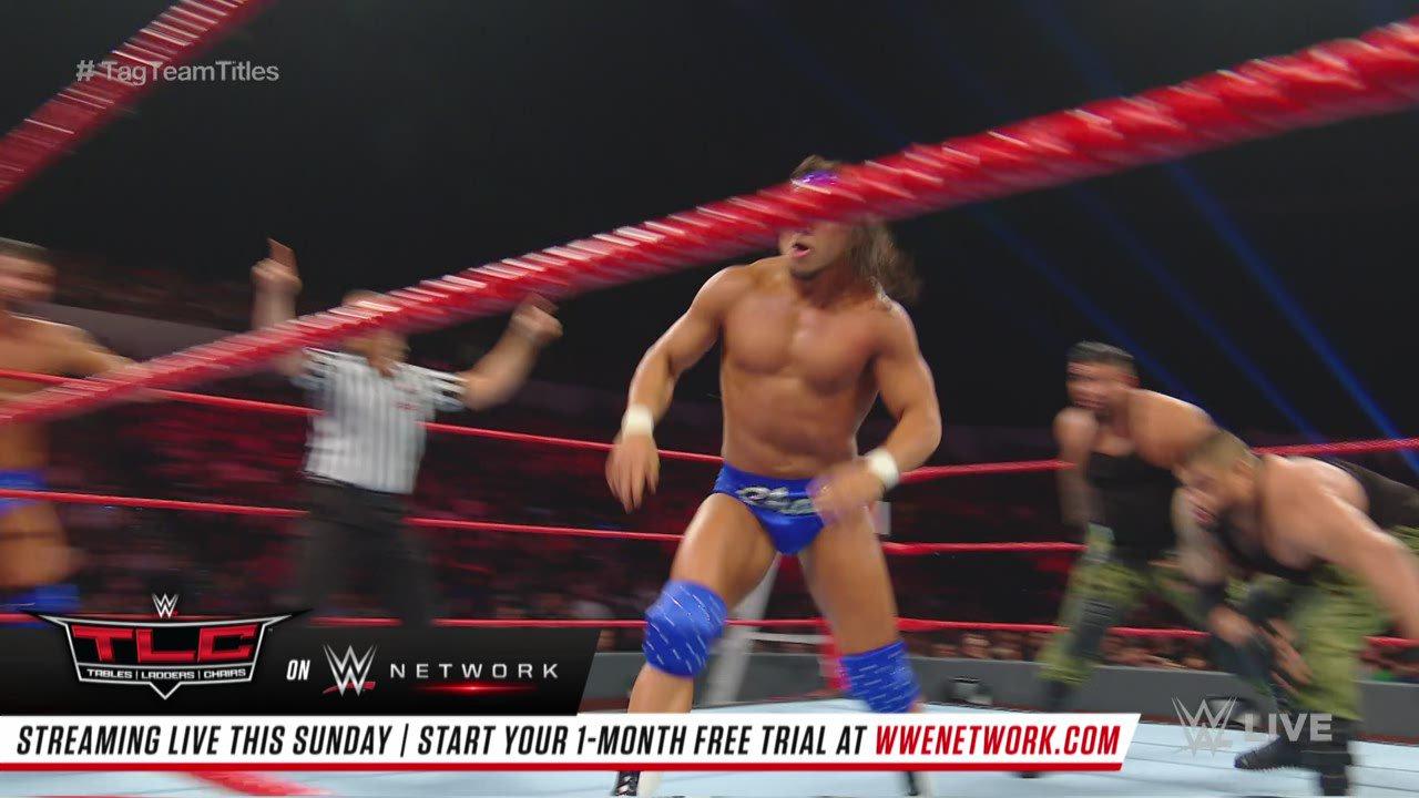 Bobby Roode & Chad Gable vs. AOP & Drake Maverick - Match Handicap 2 contre 3 pour les Titres par Équipes de Raw: Raw, 10 Décembre 2018
