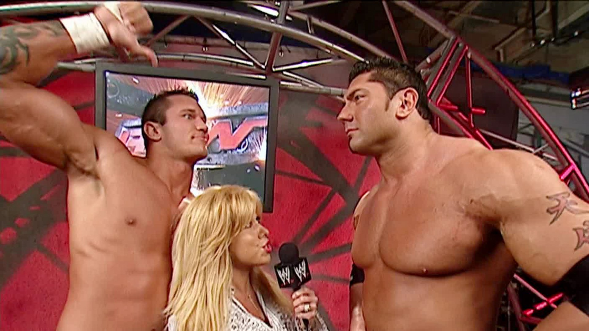 Randy Orton acts goofy in a backstage interview: Raw, Dec. 1, 2003