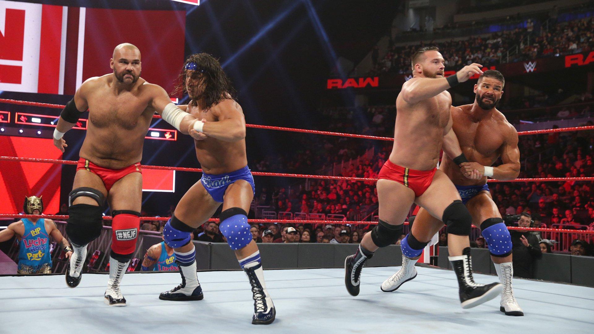 Bobby Roode & Chad Gable vs. The Revival - Match Lumberjack pour les Titres par Équipes de Raw: Raw, 7 Janvier 2019.