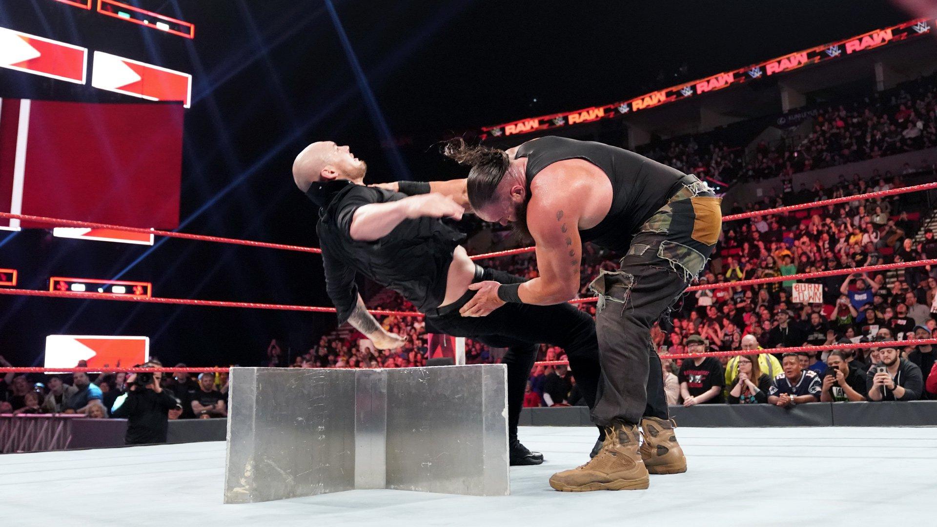 Braun Strowman & Kurt Angle vs. Baron Corbin & Drew McIntyre: Raw, 4 Fev 2019
