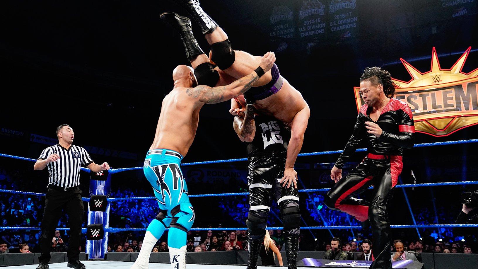 Gallows & Anderson vs. Rusev & Shinsuke Nakamura: SmackDown LIVE, 5 Fev 2019