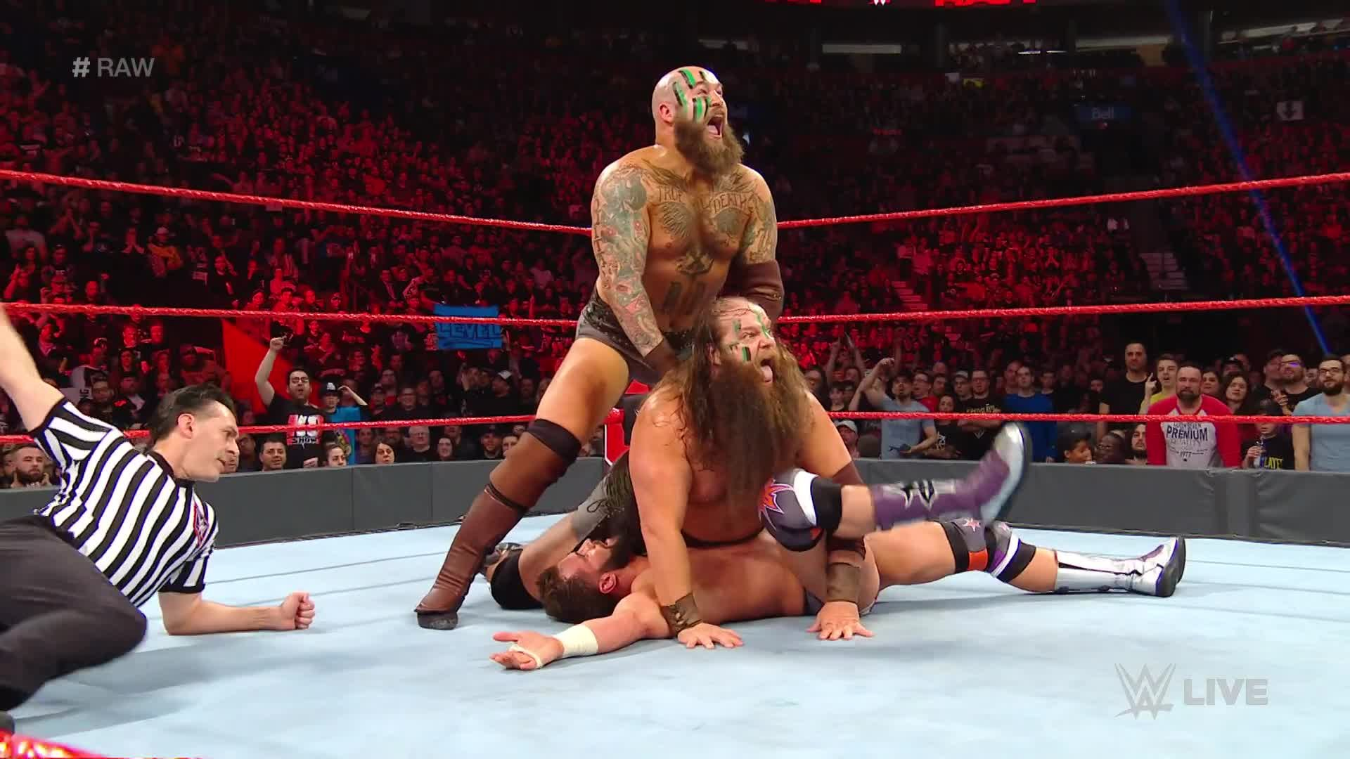 Zack Ryder, Curt Hawkins, Aleister Black & Ricochet vs. The Revival & The Viking Experience: Raw, 15 Avril 2019