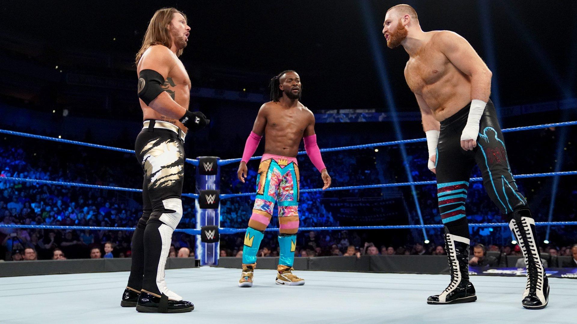 Kofi Kingston vs. AJ Styles vs. Sami Zayn – Match Triple Menace pour le Championnat WWE: SmackDown LIVE, 7 Mai 2019