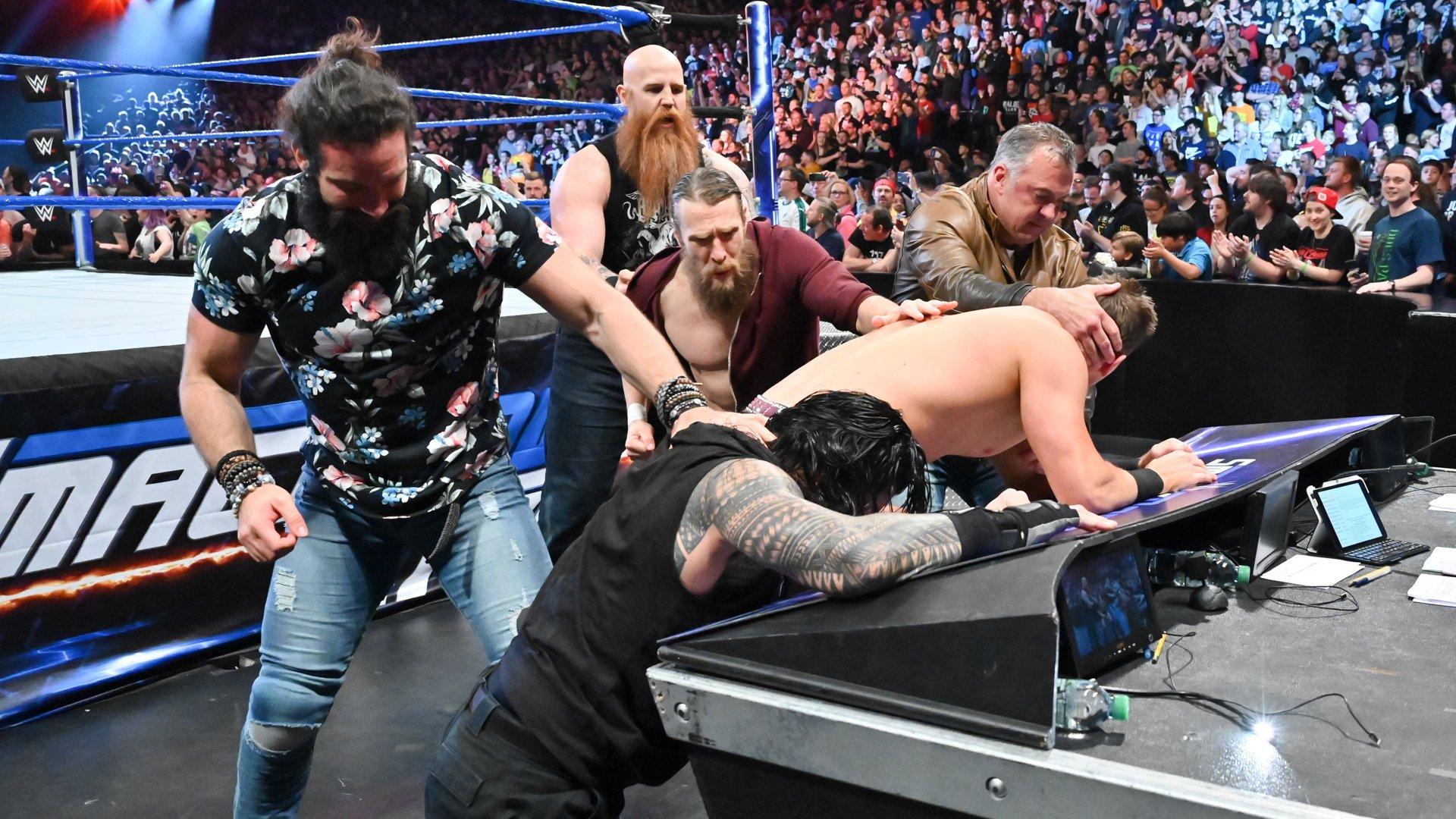 Shane McMahon & Elias piègent Roman Reigns & The Miz: SmackDown LIVE, 14 Mai 2019