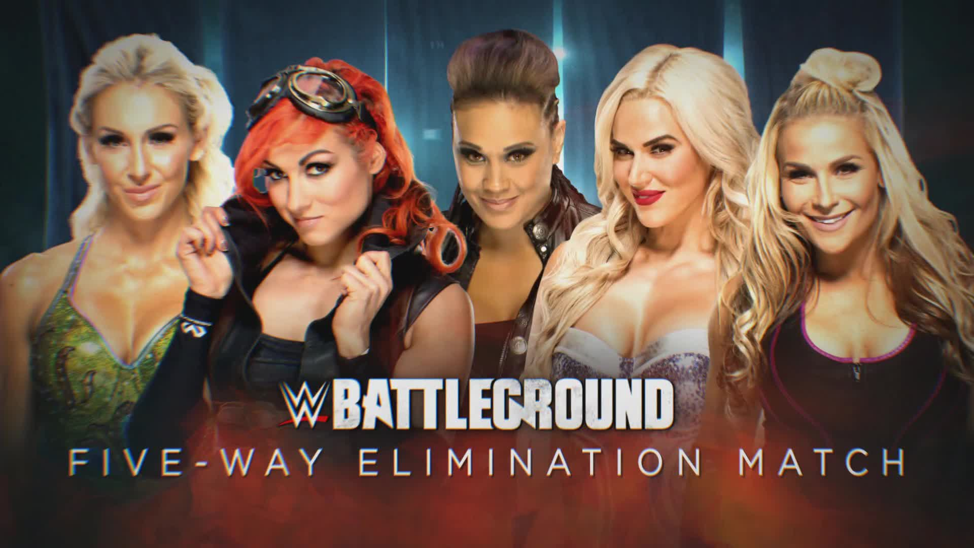 Image result for Charlotte Flair vs. Becky Lynch vs. Natalya vs. Tamina vs. Lana (Five-Way Elimination Match to determine Naomi's opponent at SummerSlam) battleground