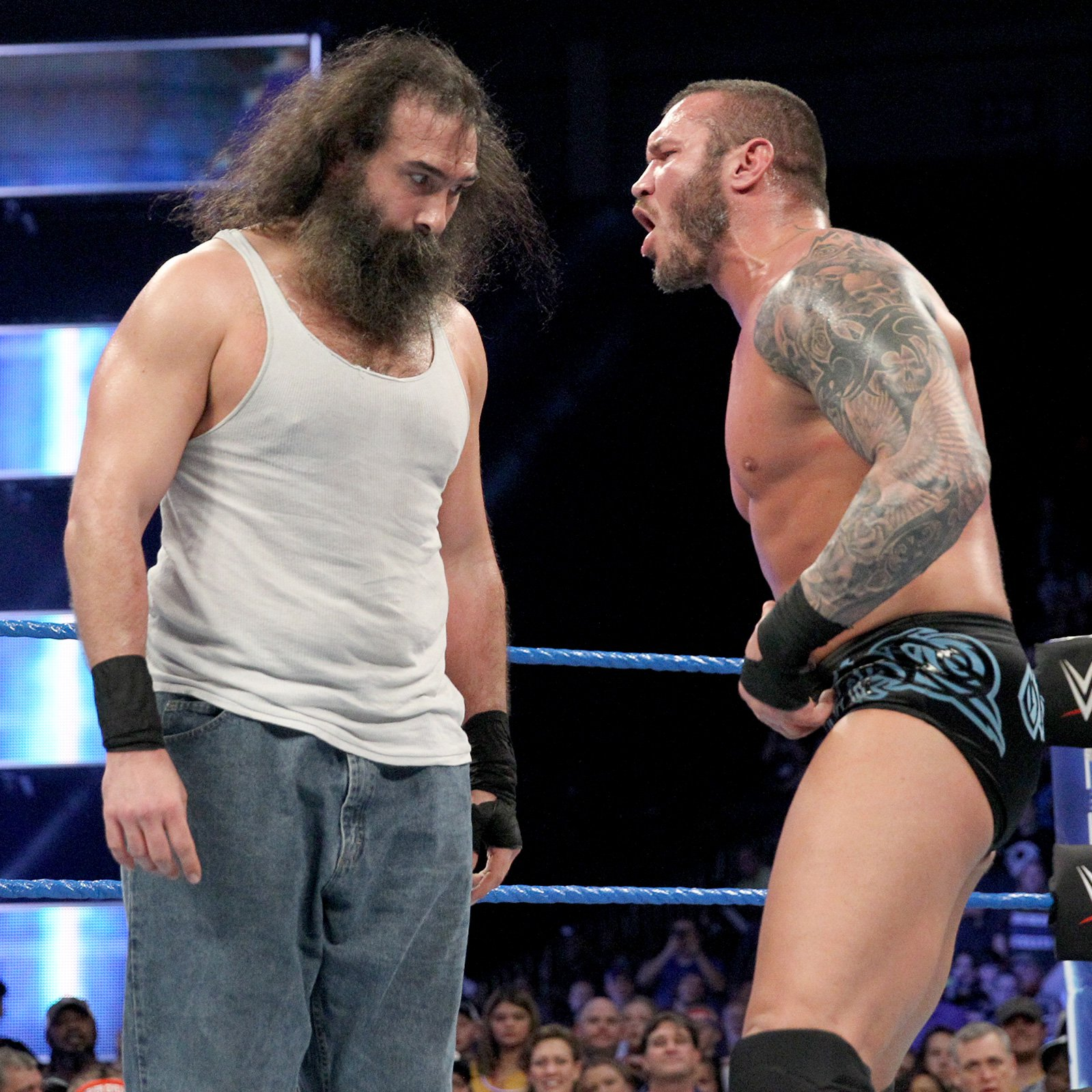 After the bell, things quickly turn tense between Orton and Harper.