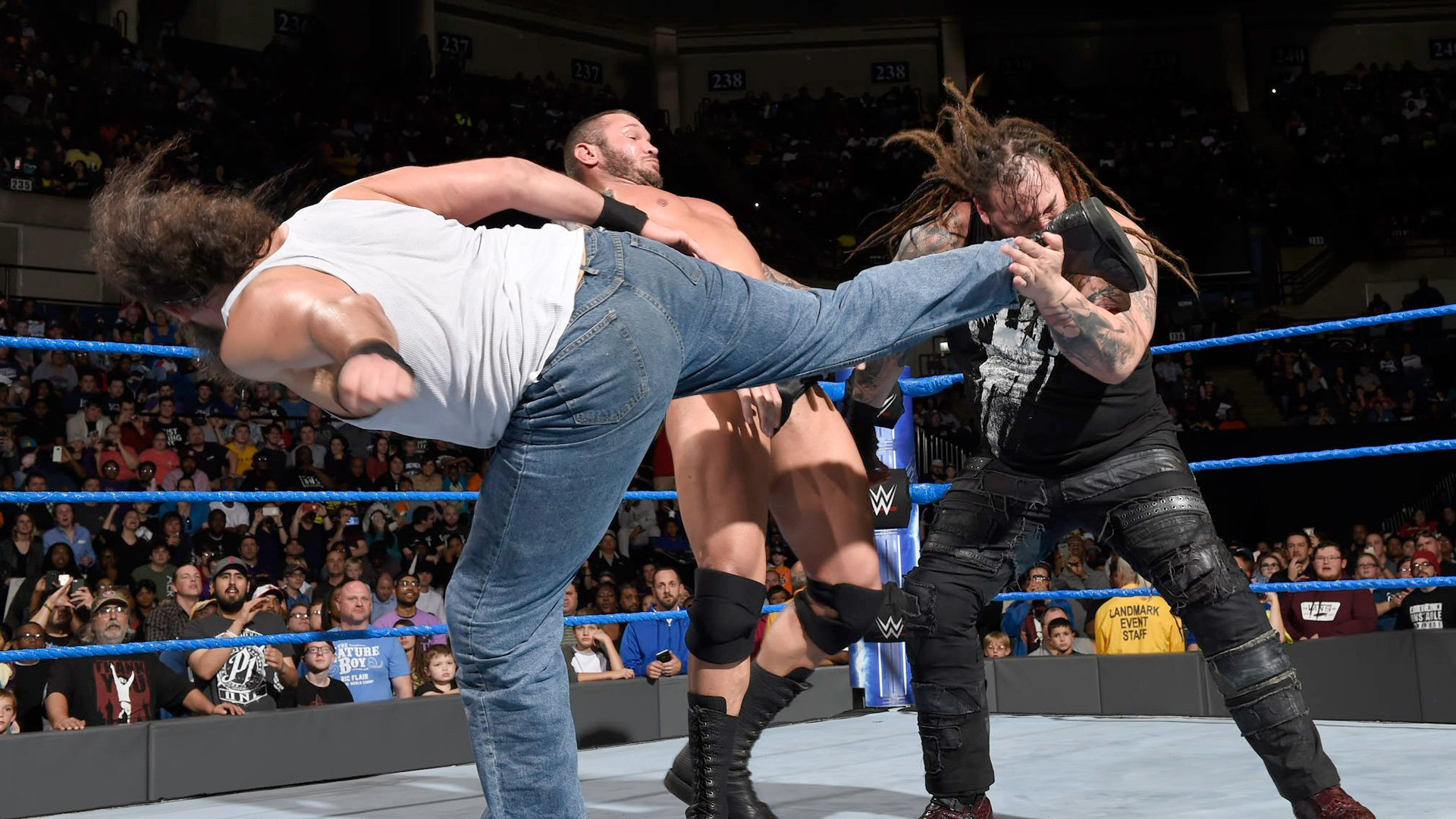 Wyatt accidentally gets knocked to the ground when Harper kicks The Eater of Worlds when aiming for Orton.