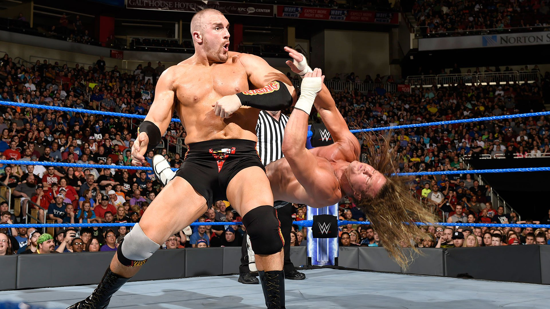 Rawley sends Ziggler to the mat.