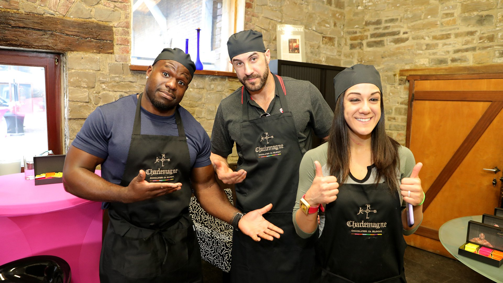 Apollo Crews, Cesaro and Bayley take some time during WWE Live's stop in Belgium to tour a chocolate factory.