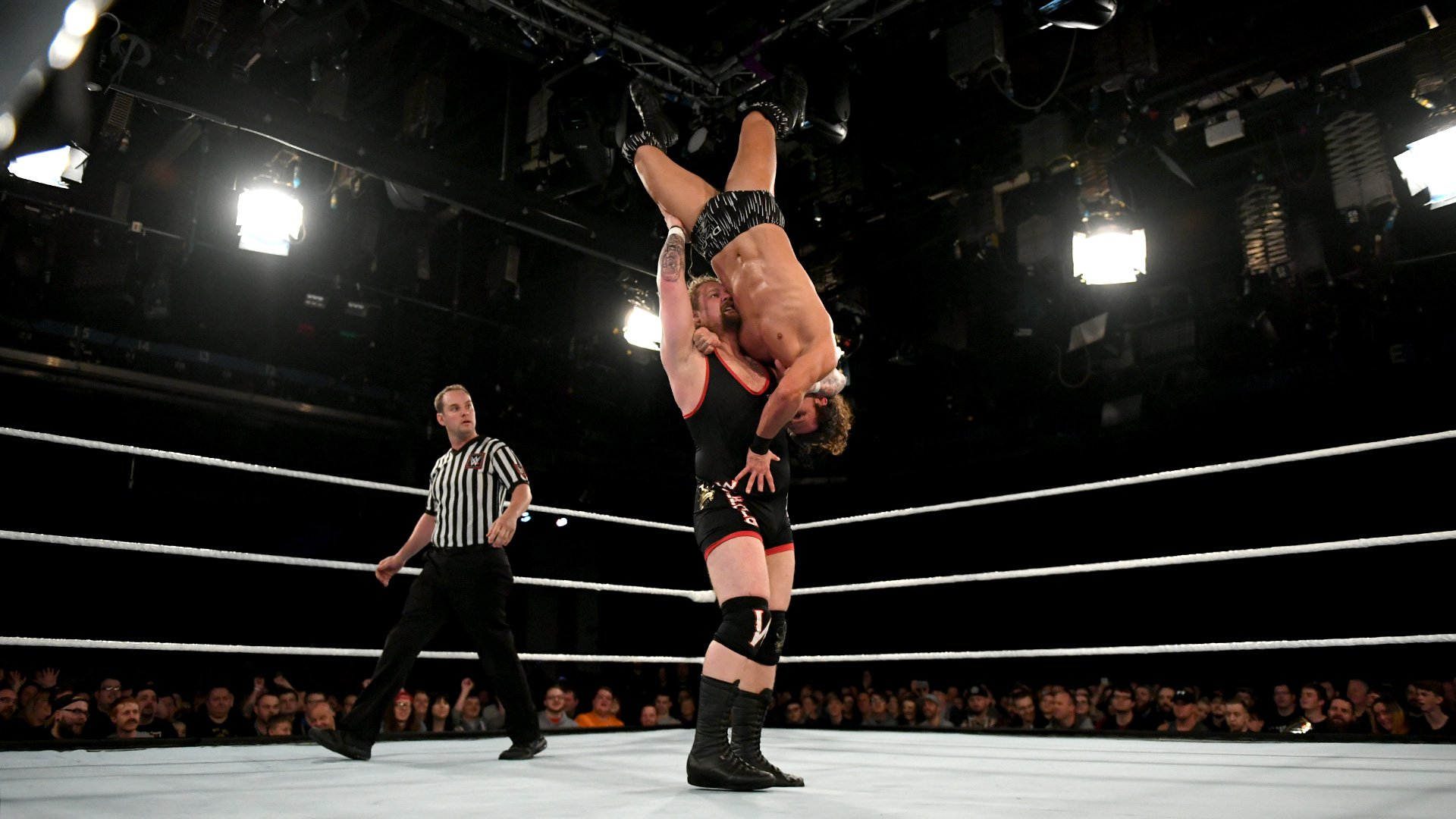 Wolfgang lets the blood drain to the head of Joseph Conners during an extra-delayed vertical suplex.