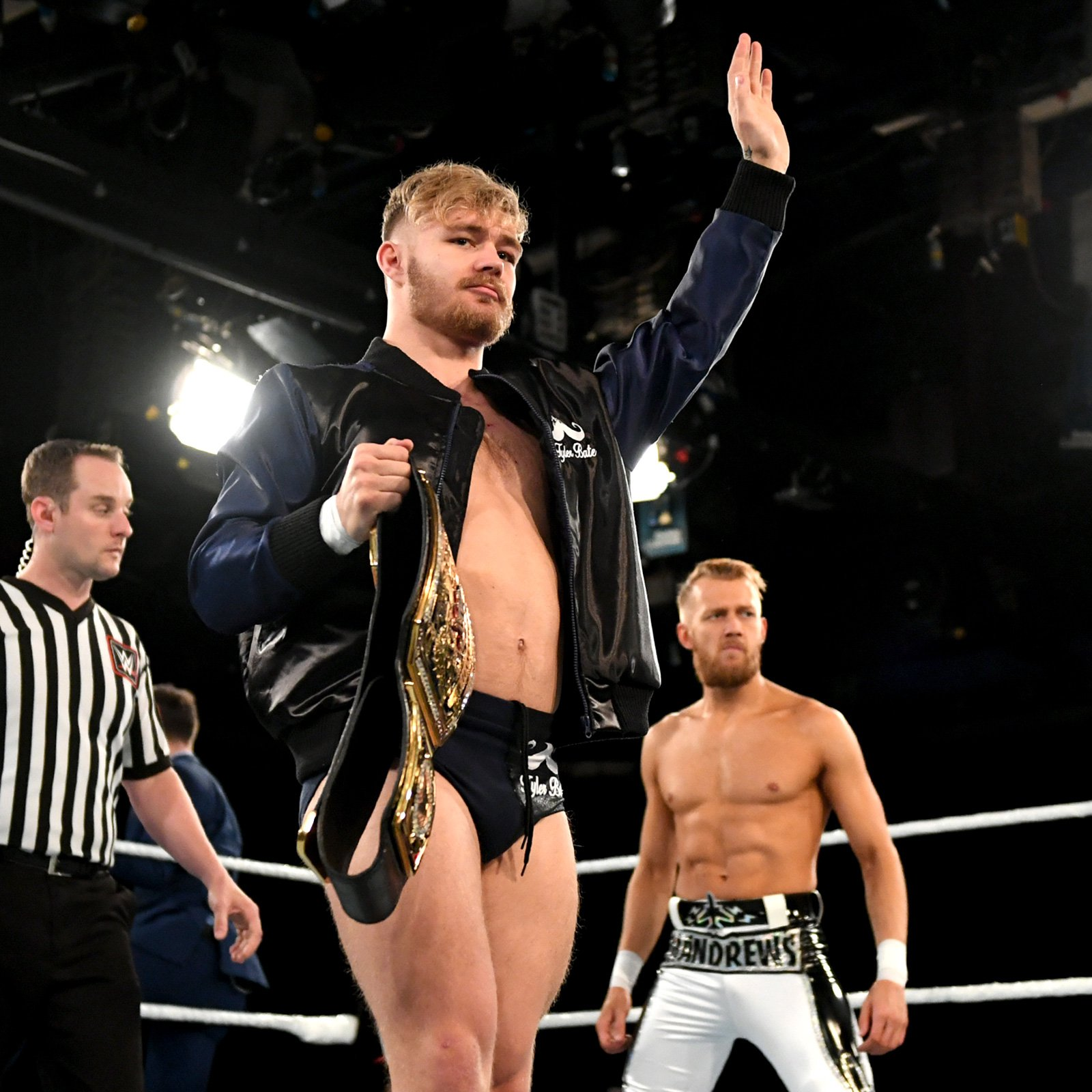 The current holder of that title, Tyler Bate, readies for action against the renowned, high-flying Mark Andrews.