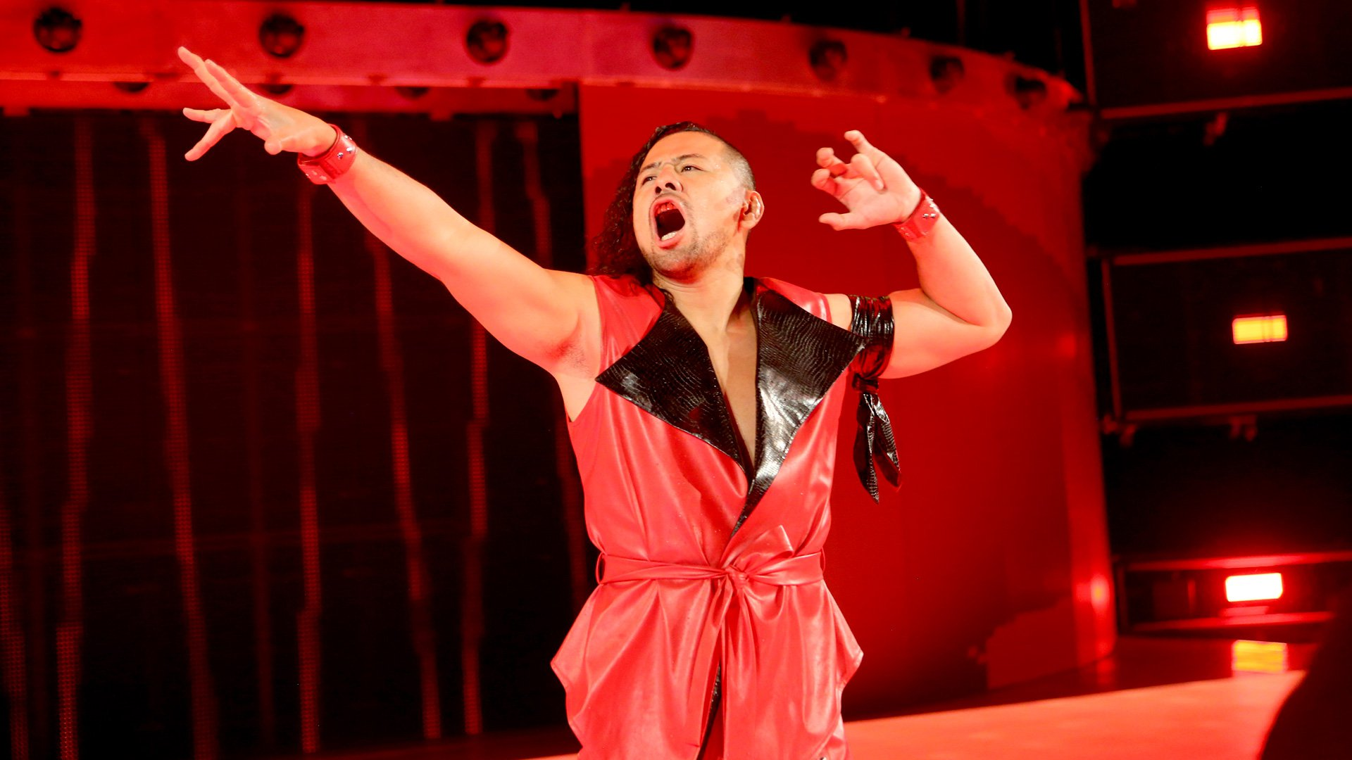 Nakamura makes his hotly-anticipated entrance to the delight of the WWE Universe.