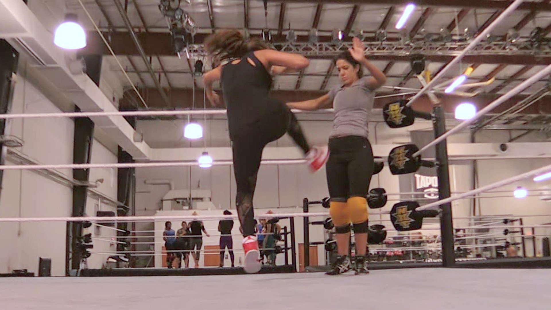 Nikki Bella and Bayley train at the WWE Performance Center, helping The Fearless One get her legs back and hopefully begin working out ideas for a new signature move.