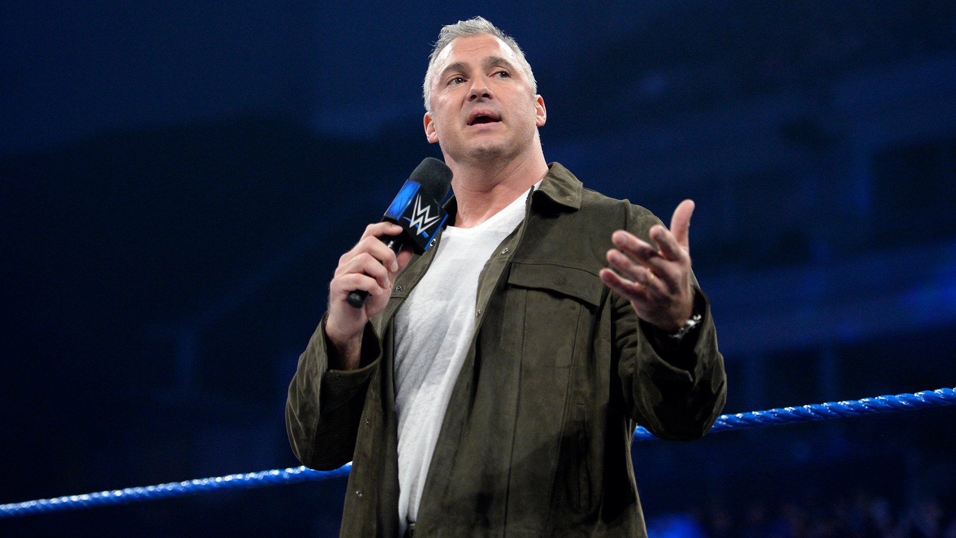 SmackDown LIVE Commissioner Shane McMahon prepares to preside over the Six-Woman Tag Team Match Contract Signing for WWE Backlash this Sunday.