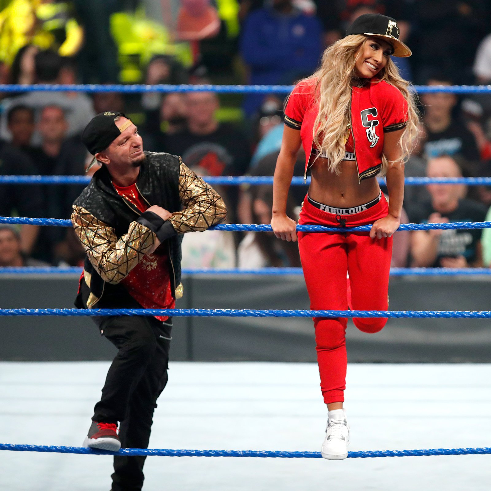Carmella makes her way to the ring ready to do battle.