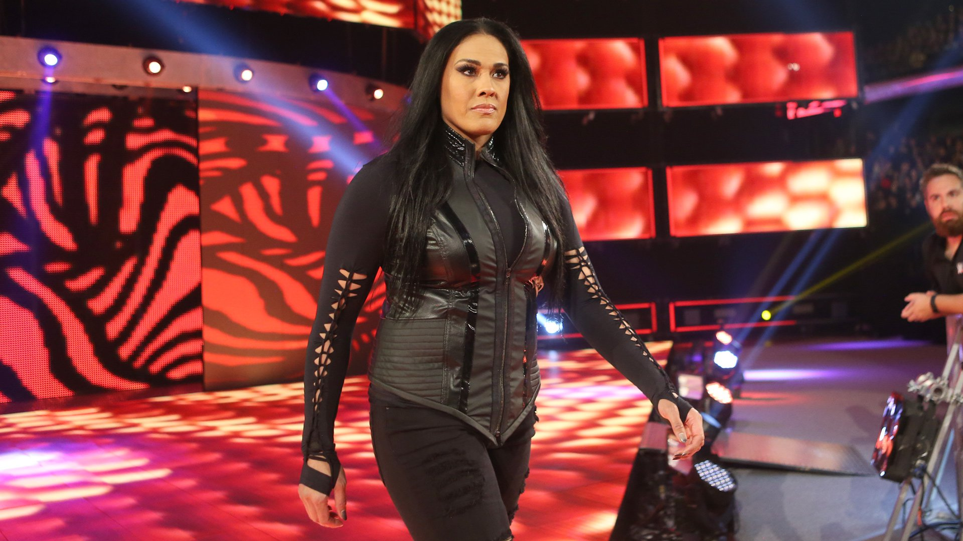 Tamina is all business for the evening's Six-Woman Tag Team Match.
