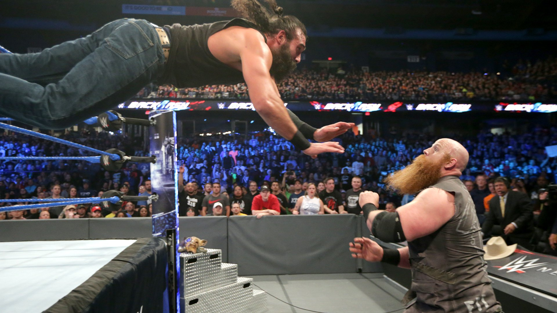 Luke Harper throws caution to the wind to take out his former ally.