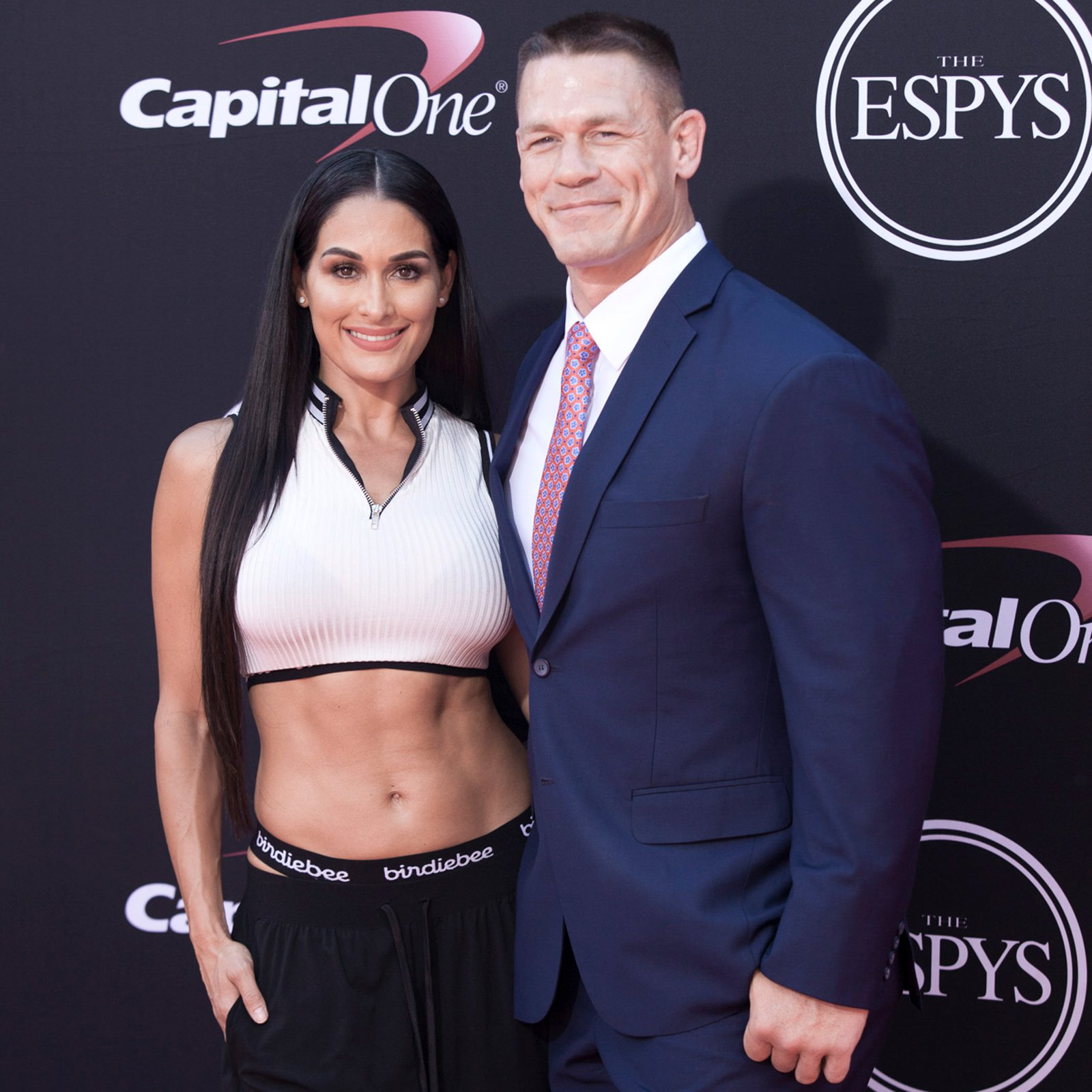 Nikki Bella and John Cena walk the red carpet at the 2017 ESPYs.