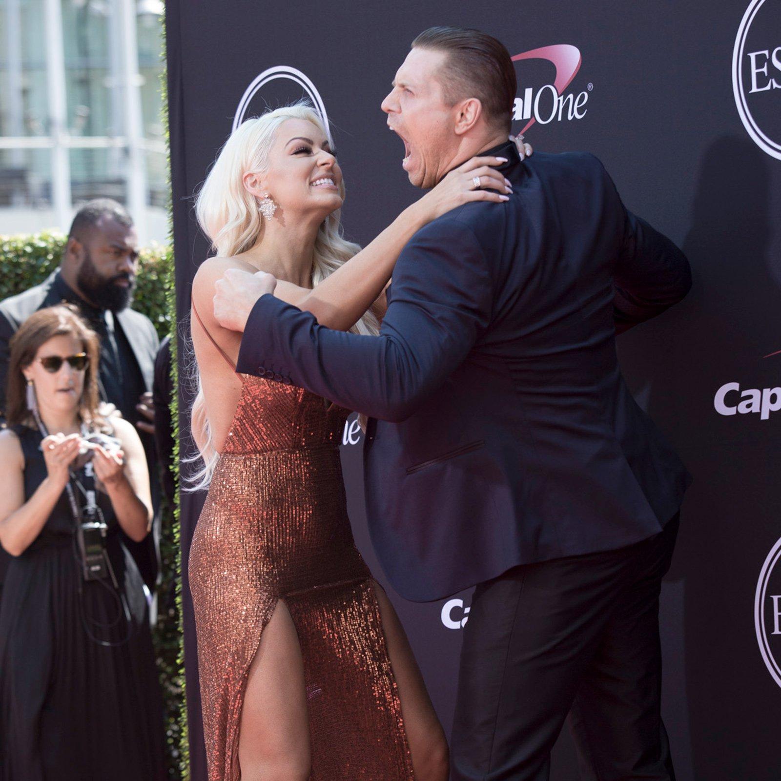 The Miz and Maryse join the red carpet festivities at  the Microsoft Theater in Los Angeles.