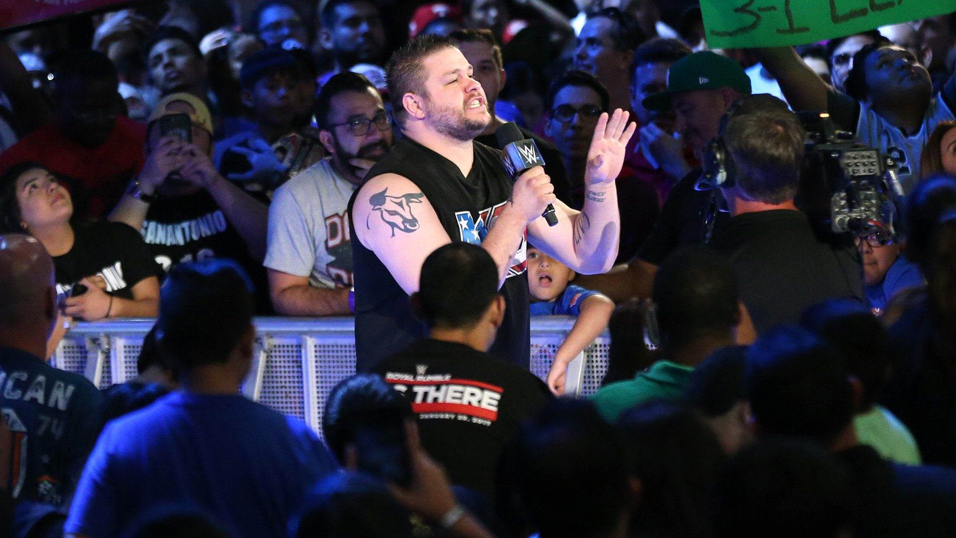 Kevin Owens interrupts and says that no one wants to see Cena vs. Styles again...