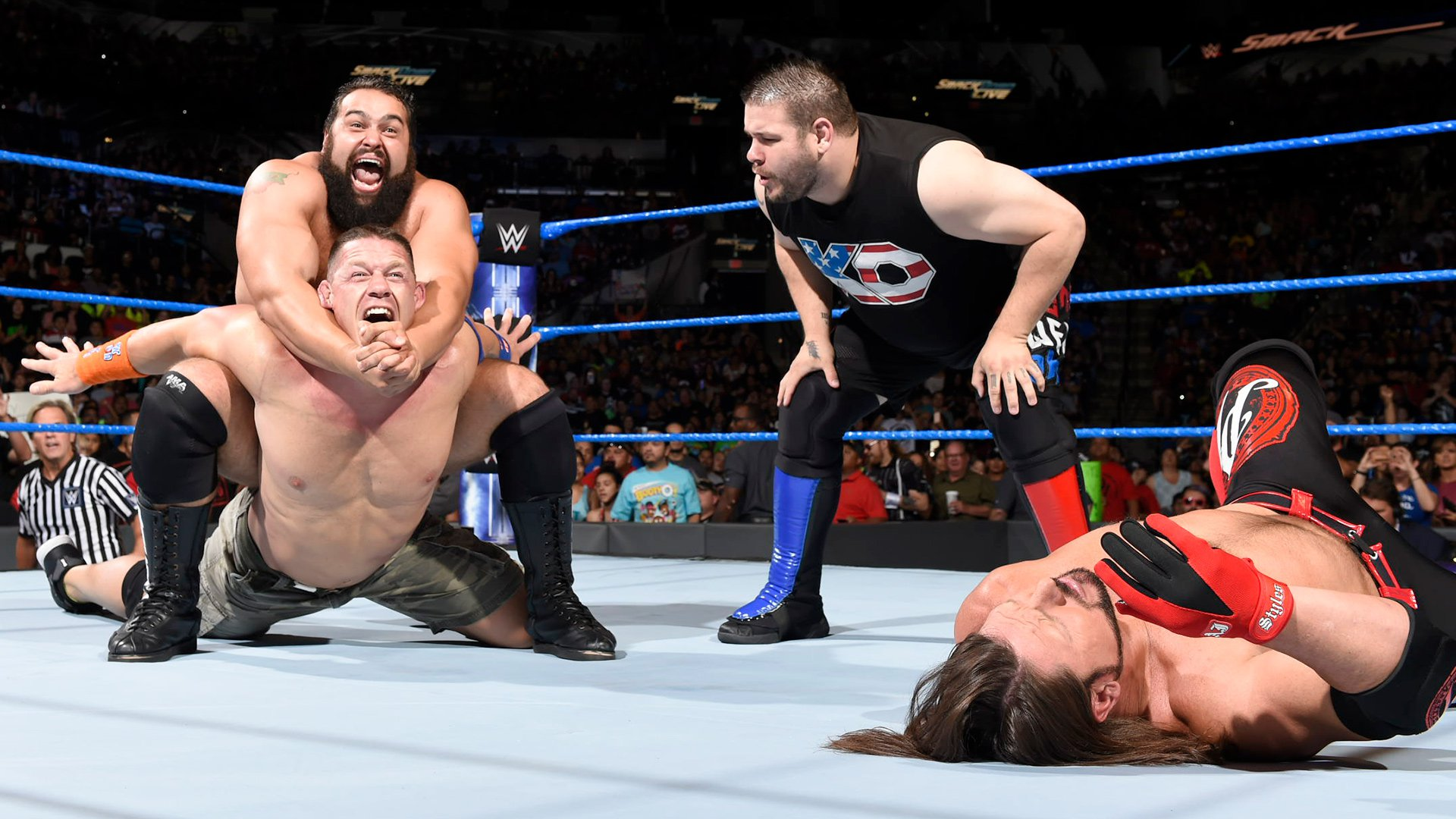 The Bulgarian Brute locks Cena in his devastating Accolade as Owens continues to talk smack.