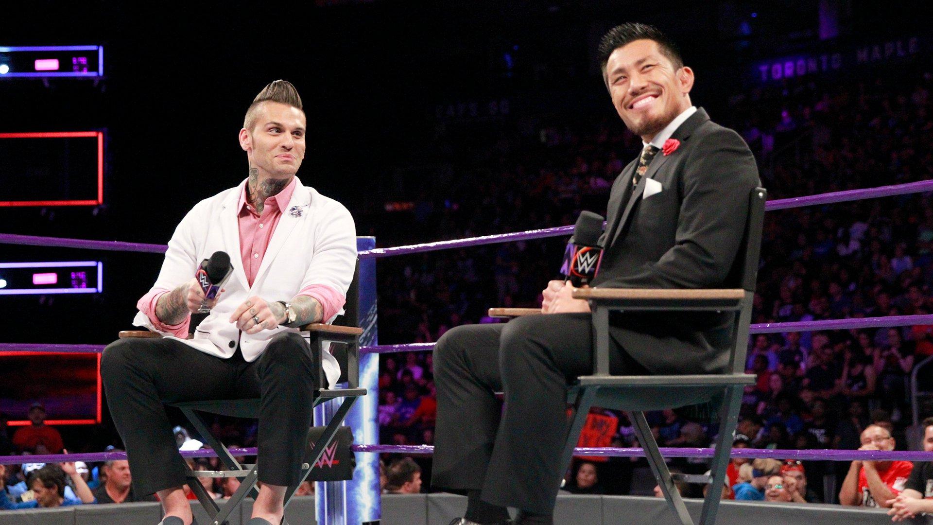 WWE Cruiserweight Champion Neville confronts Akira Tozawa.