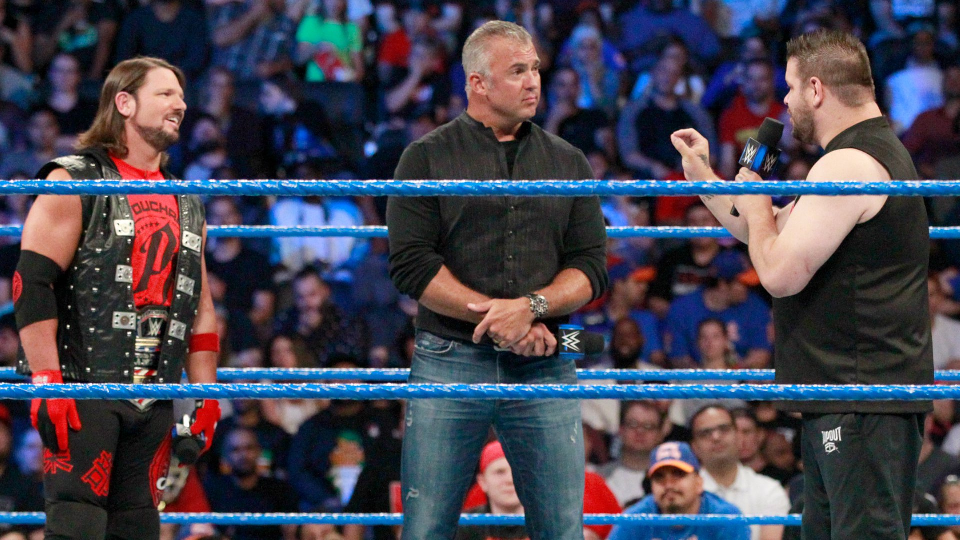 Owens offers Shane an apology and is quick to remind the SmackDown LIVE Commissioner of his frosty past with The Phenomenal One.