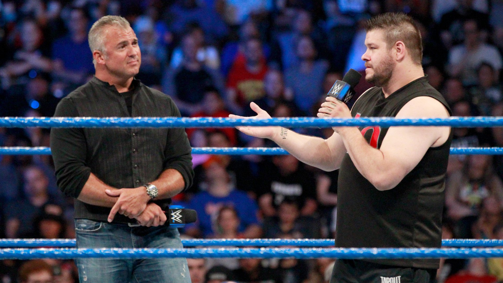 KO plays a clip from WWE Network that shows Shane as a referee refusing to make a three-count...