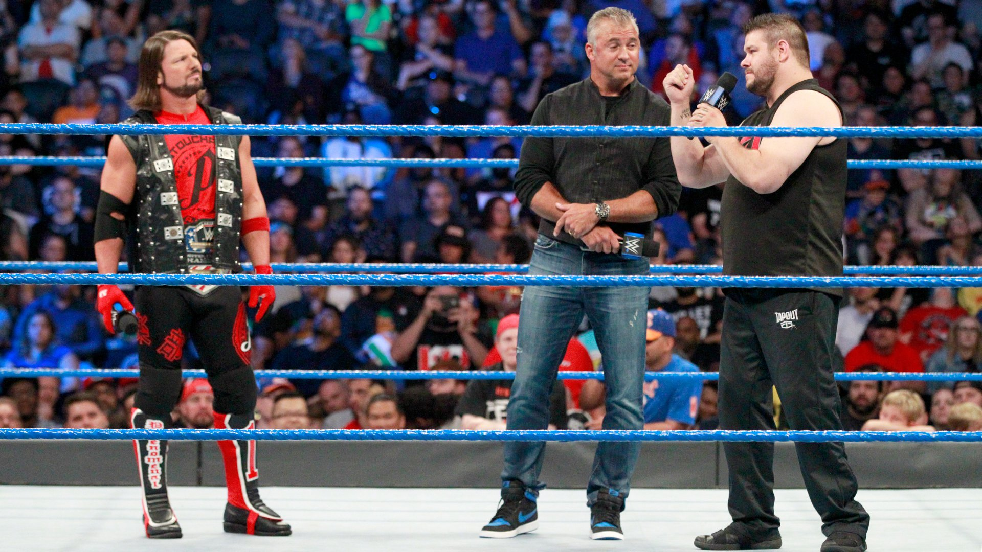 ... and tells AJ that there could be an entire collection of clips that show Shane-O-Mac's shady officiating.