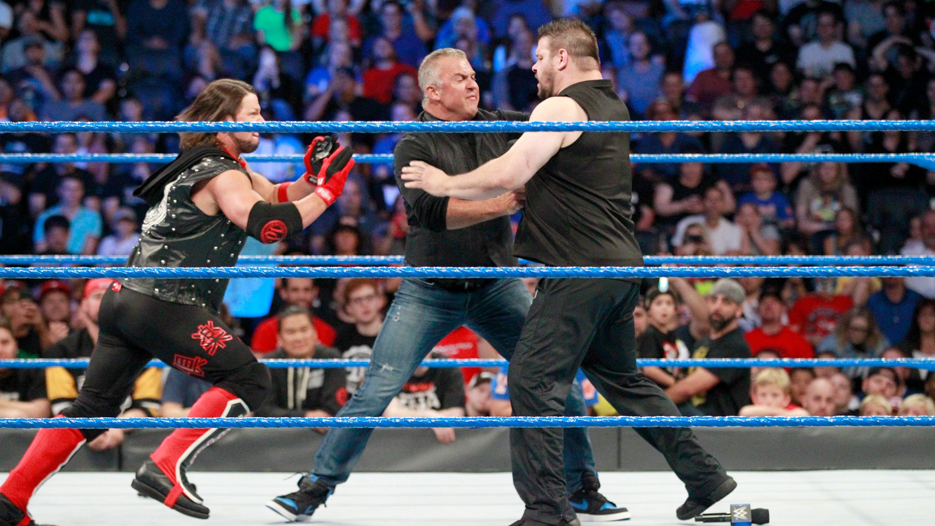 A shoving match ensues...