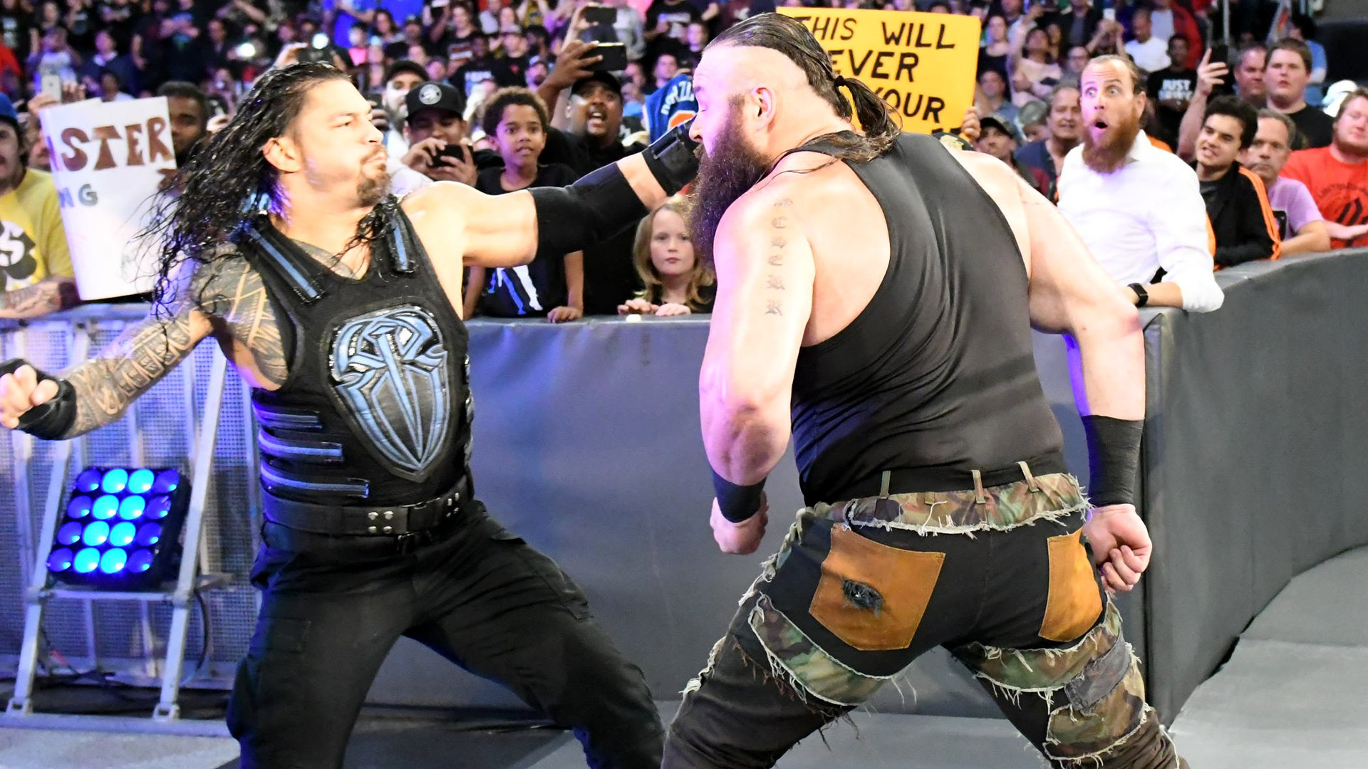The Monster Among Men meets Reigns on the ramp and the fight is on!