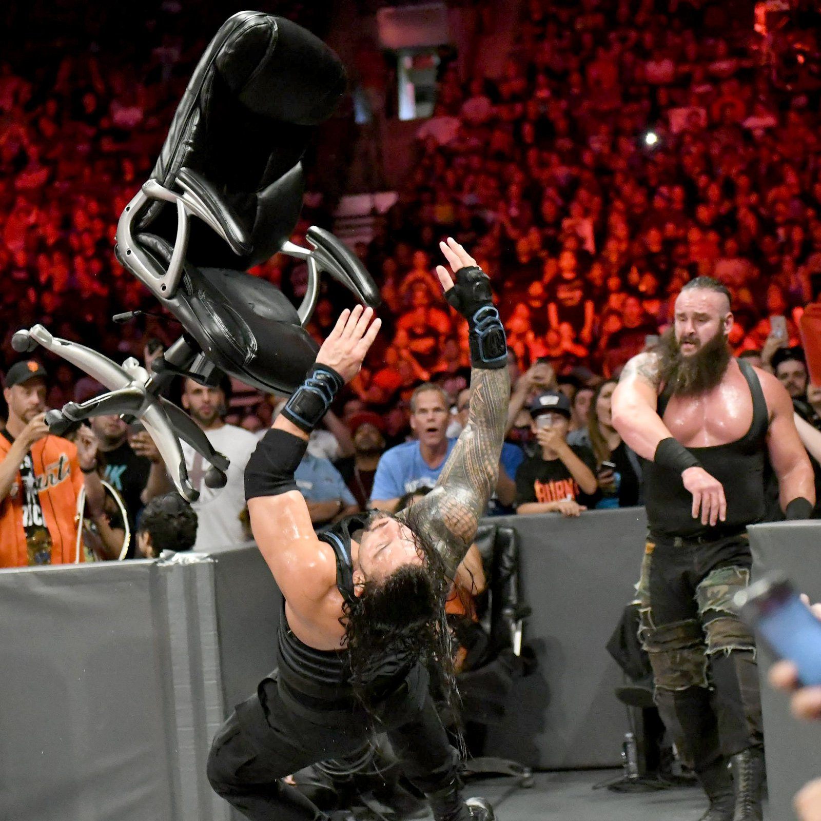 Strowman wants Roman to take a seat as he hurls a chair at The Big Dog!
