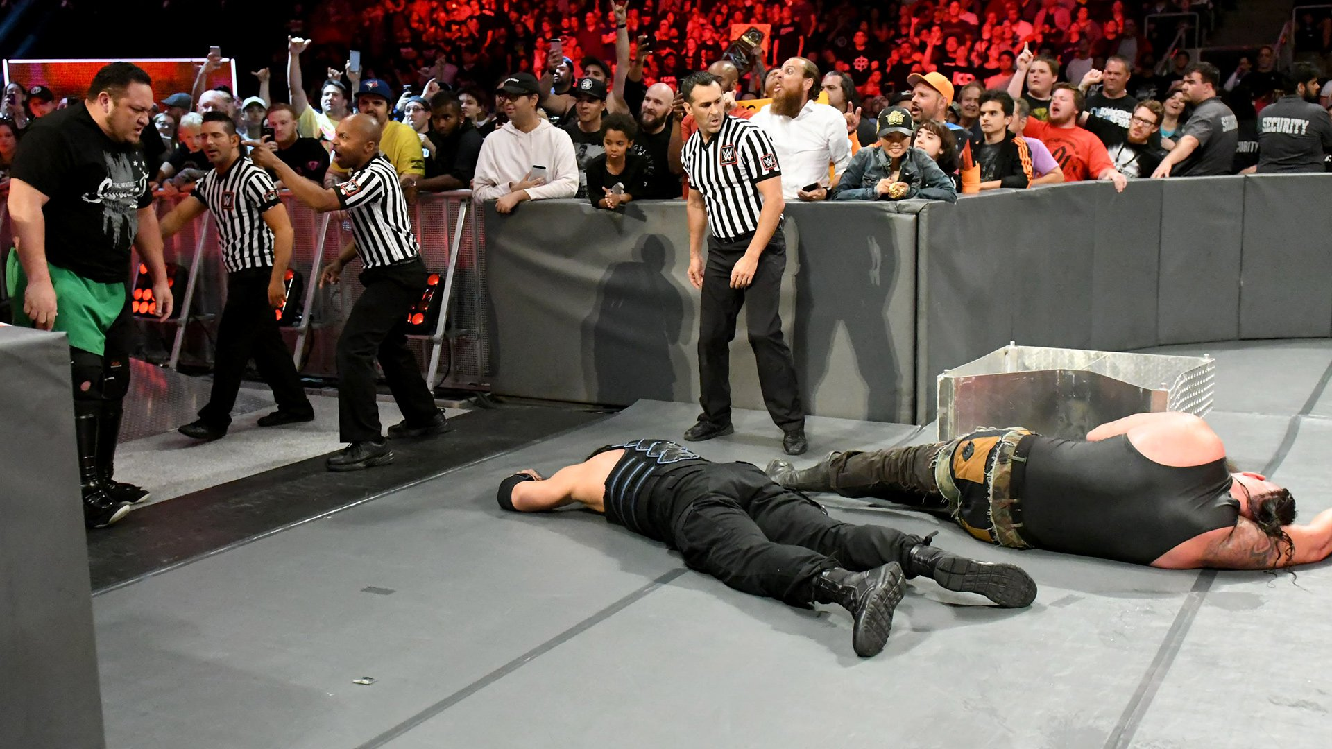 Strowman would get to his feet at the count of eight to claim the victory...