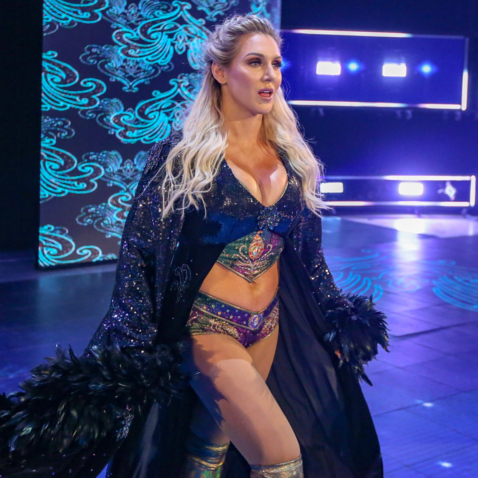 Up next, Charlotte Flair struts to the squared circle.