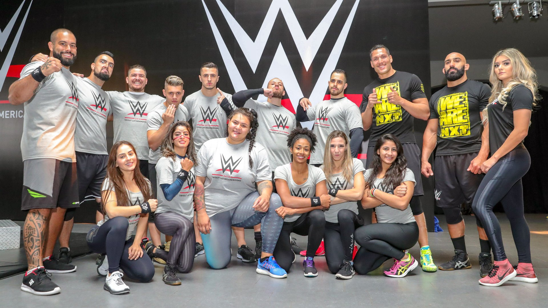 NXT's Bononi, Jaoude and Taynara Conti take a photo with their fellow countrymen and women from Brazil. The contingent overflows with talent from the nation's independent wrestling scene as well as its robust network of Jiu-Jitsu fighters.