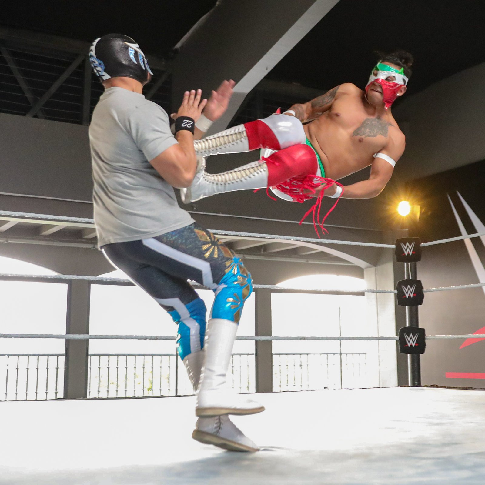 Eighteen-year-old Dragon Bane connects with a precise dropkick.