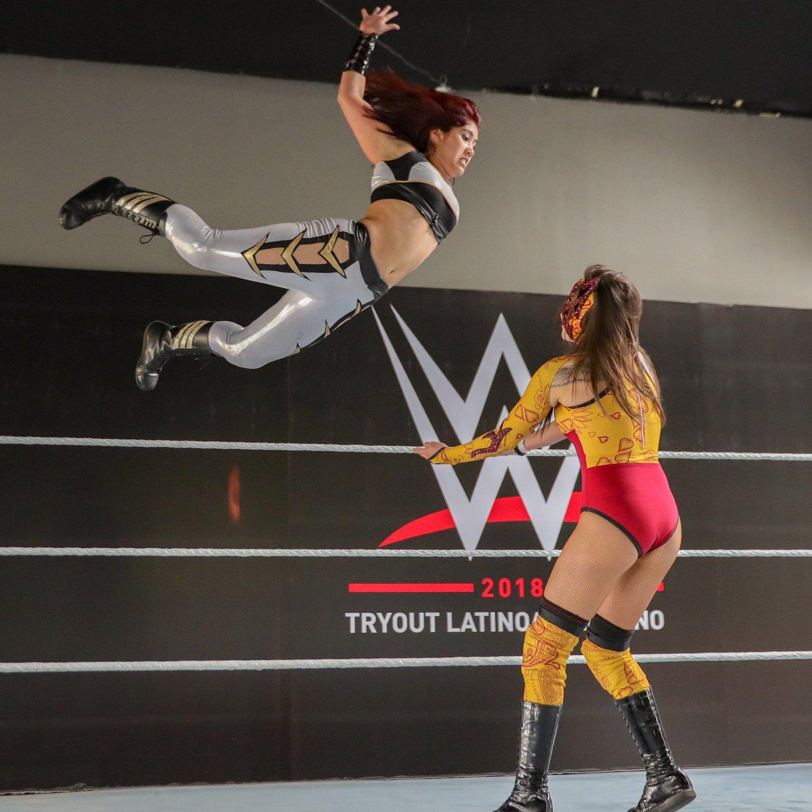 "Chilean luchadora Catalina Auroroa Garcia, aka ""The Diva of the Ring"" Jessy, takes flight."