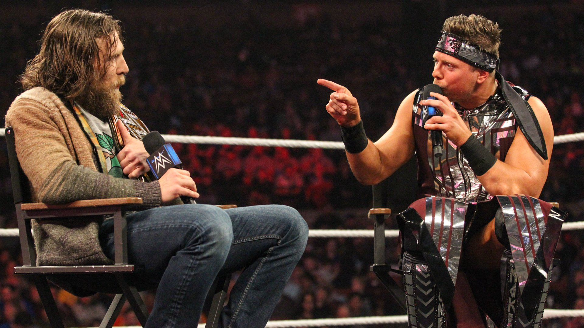 """""""Don't you realize the only reason you have the WWE Championship is because you did what I told you to do?"""" Miz asks Bryan."""