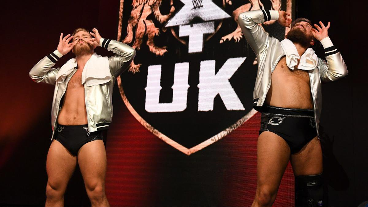 On the very first episode of NXT UK, Moustache Mountain challenge the NXT UK locker room to form to best tag team opposition possible to compete for the forthcoming NXT UK Tag Tam Championships.