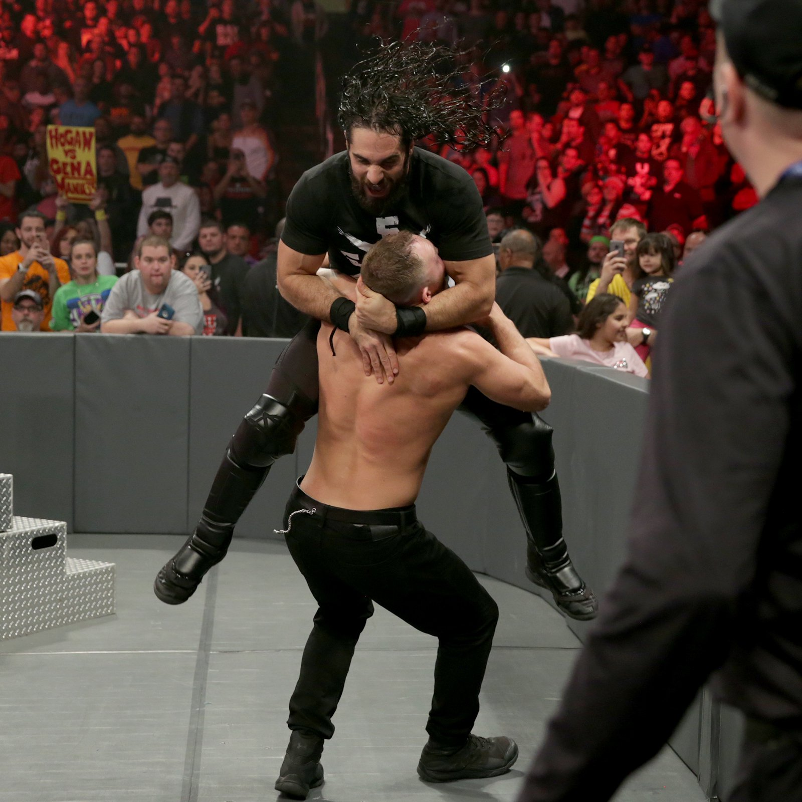 Rollins launches himself at his former Shield mate!