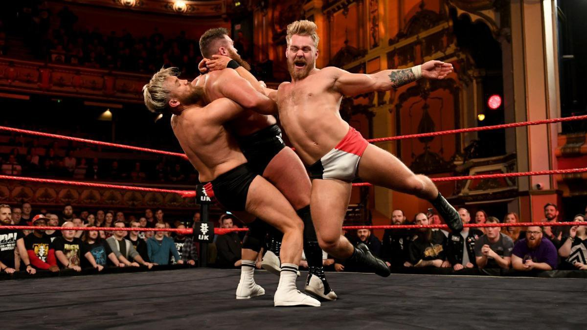 With the help of WWE United Kingdom Champion Pete Dunne, Moustache Mountain overcomes Gallus' Mark Coffey & Wolfgang in a Semifinal showdown to earn the right to compete to become the first NXT UK Tag Team Champions at NXT UK TakeOver: Blackpool.