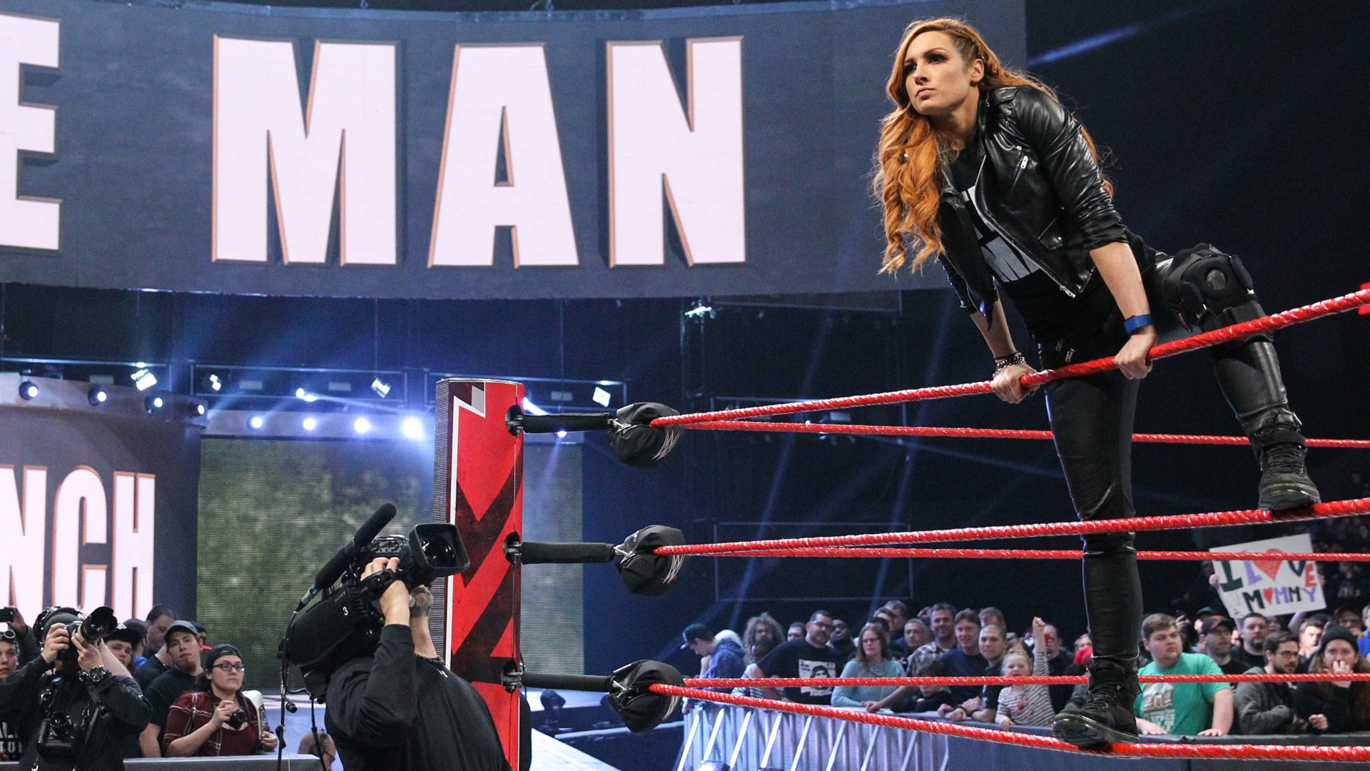 Becky Lynch is all business as she hits the squared circle.