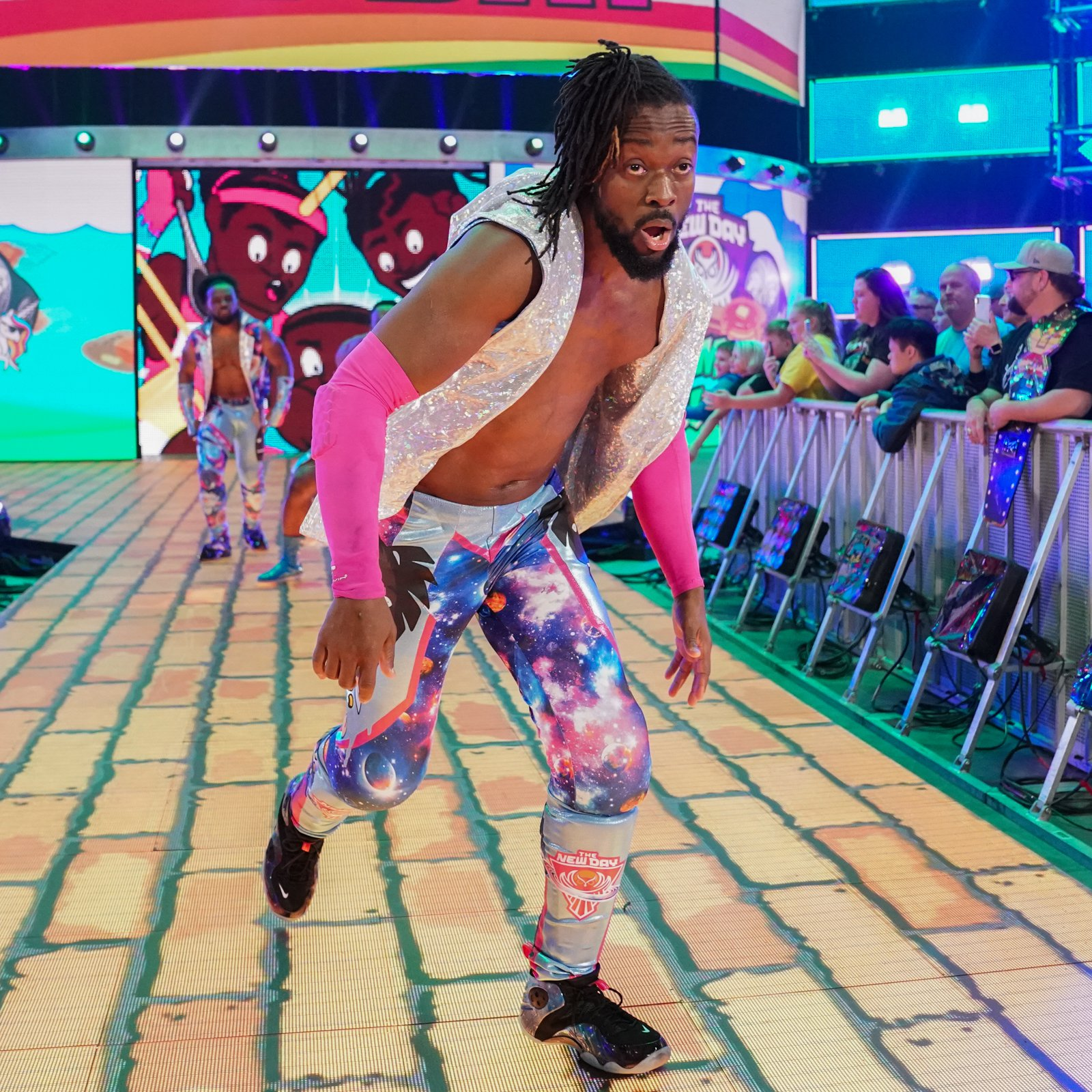 Kofi bounds to the ring ready to attempt to run the Gauntlet.