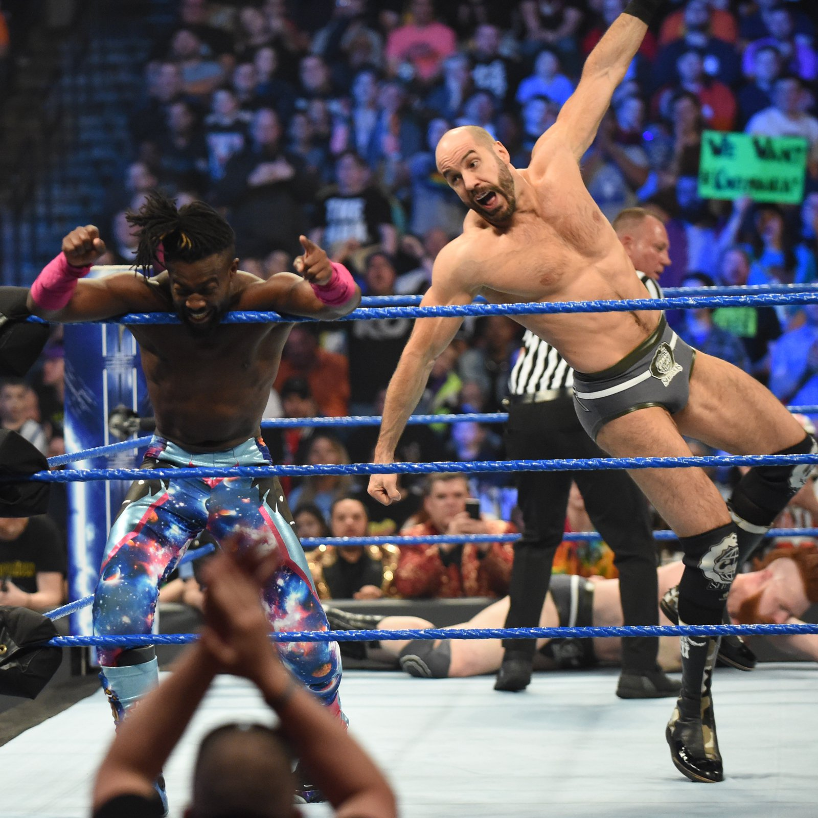 ... but Cesaro strikes from behind!