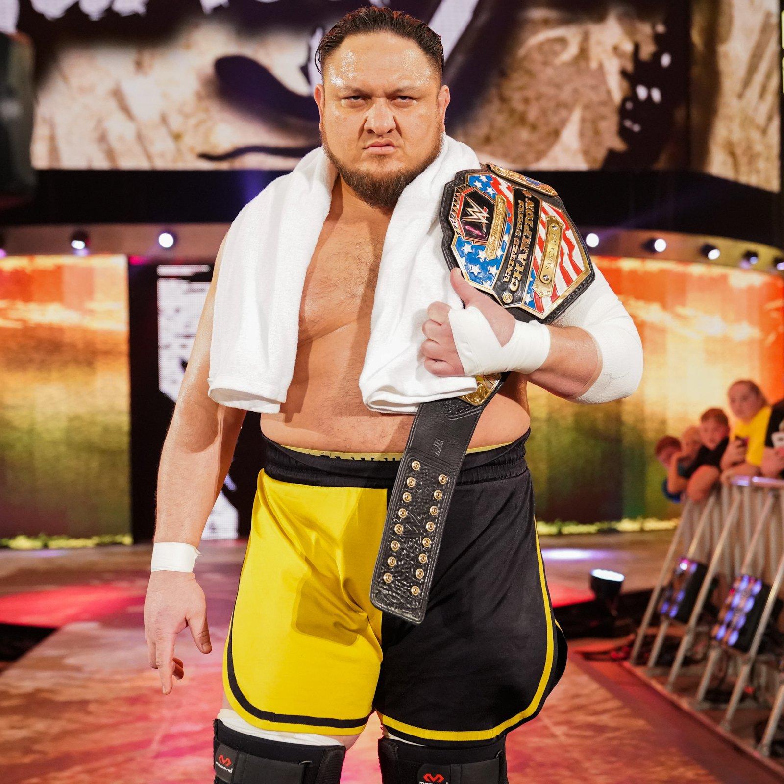 United States Champion Samoa Joe stalks to the ring to take on Kofi.