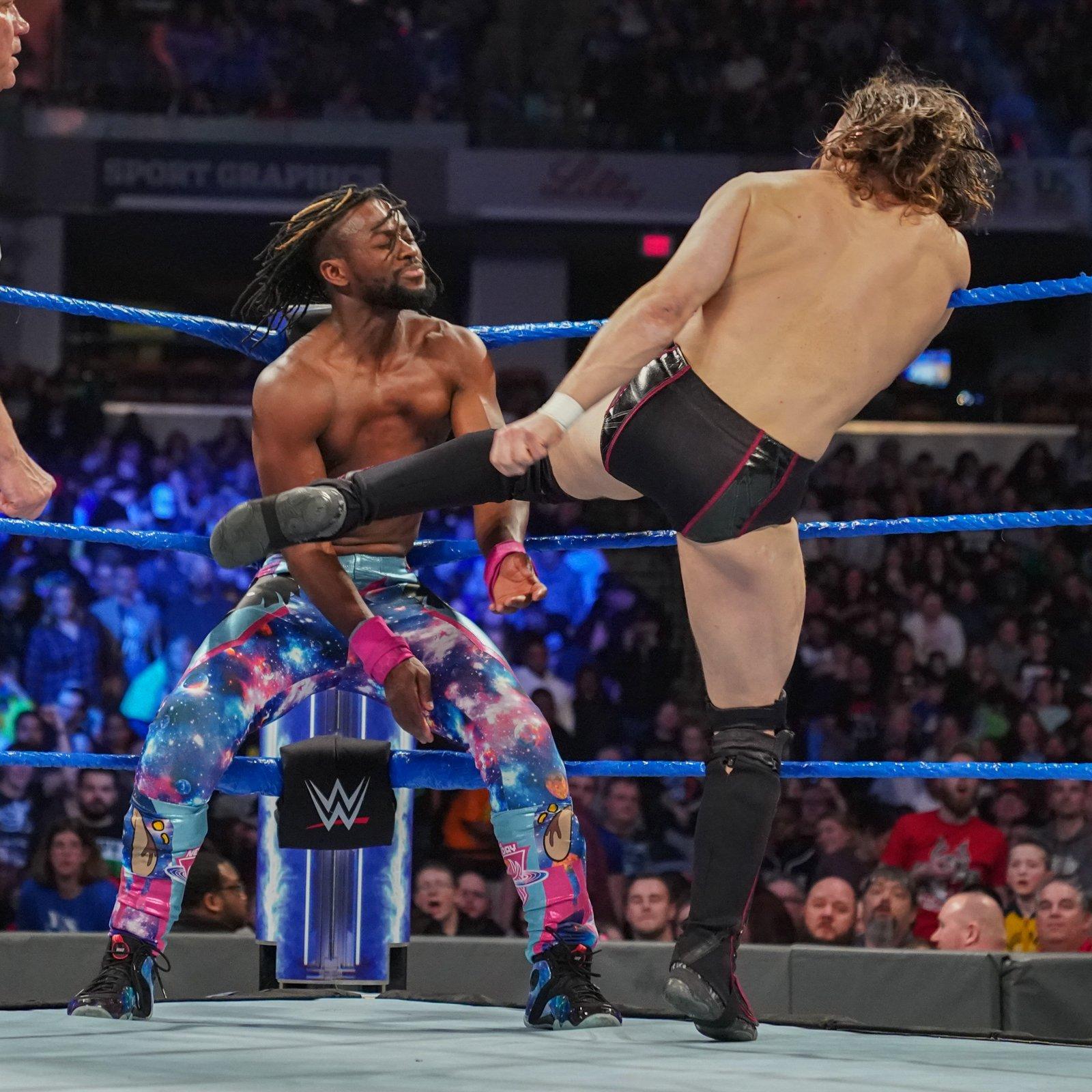 Bryan unloads with several punishing kicks.